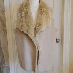 Faux fur and suede vest